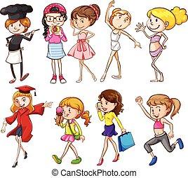 miły, działalność, różny, nastolatki