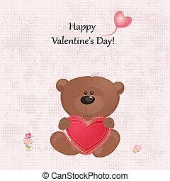 miś, z, valentine