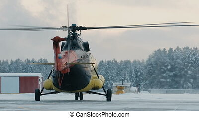 Mi-8 helicopter during the parking