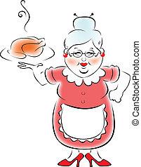 mi, abuela, cocinado, cena.