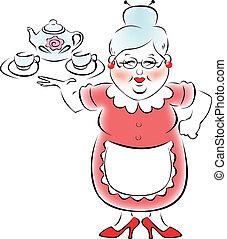 mi, abuela, traído, un, bandeja, con