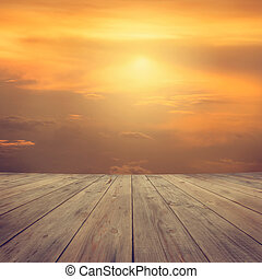 mi air, plate-forme, bois, coucher soleil, vue