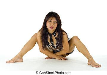 mi, asiatique, lingerie, adulte, poser