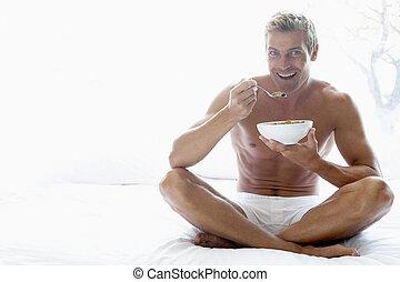 mi, manger, homme, petit déjeuner, adulte