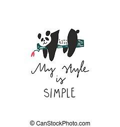 mi, panda, freehand, dibujado, estilo, simple, quote:, colocar, rama, oso