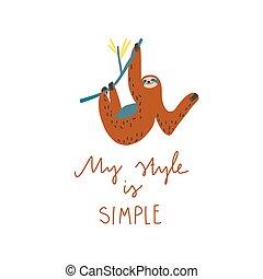 mi, perezoso, freehand, dibujado, estilo, simple, quote:, rama