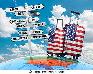 mi, usa., bőrönd, útjelző tábla, utazás, meglátogat, concept...