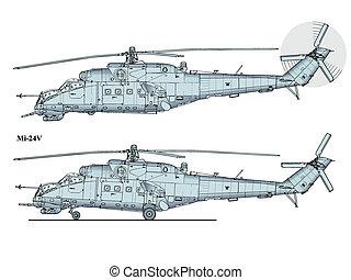 mi24, helikopter, -, krokodyl