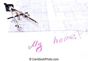 Casa concetto mio strada bussola concetto isolato for Aprire piani casa concetto