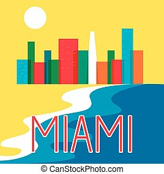 Miami abstract skyline city skyscraper flat colorful vector illustration
