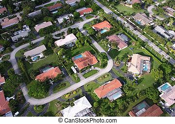 Aerial view of suburban Miami residential neighborhood.
