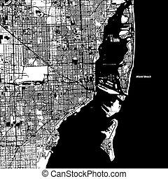 Miami and Miami Beach Vector Map