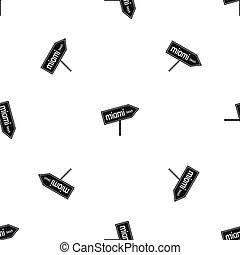 Miami arrow post sign pattern seamless black