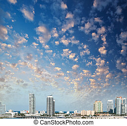 Miami at sunset. City skyline