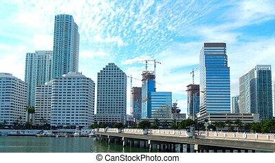 miami, baai, downtown, langs, biscayne, aanzicht