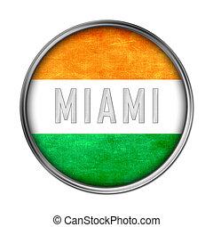 miami, bandeira, botão