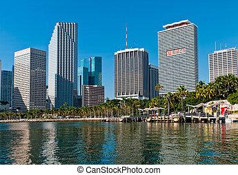 miami, bayfront, parque, downtown.