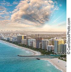 Miami Beach aerial skyline at dusk, Florida