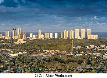 Miami Beach aerial skyline at dusk