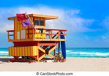 Miami beach baywatch tower South beach Florida - Miami beach...