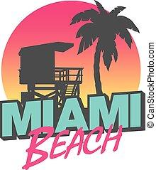 Miami Beach - Colorful symbol of Miami beach with the famous...
