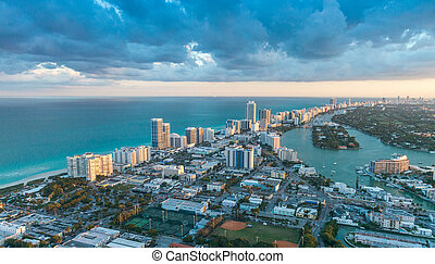 Miami Beach coastline, aerial view at dusk