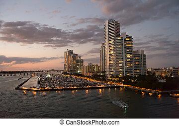 miami beach, escena, noche