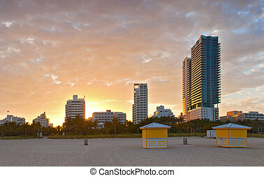 Miami Beach Florida, beautiful summer sunset at the beach...