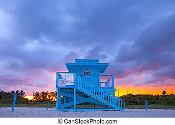 Miami Beach Florida, colorful lifeguard house in a typical...