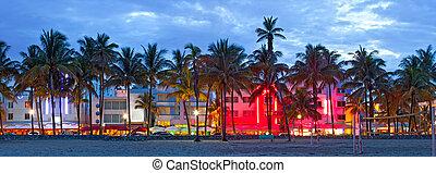 miami beach, florida, hotel, a, restaurace, v, západ slunce...