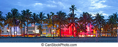 miami beach, florida, hoteles, y, restaurantes, en, puesta...