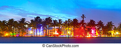 Miami Beach, Florida hotels and restaurants at sunset on ...