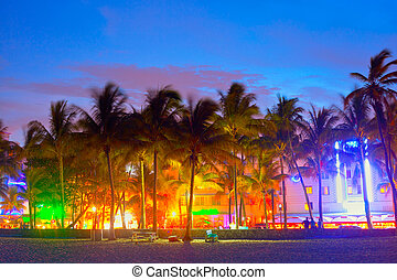 Miami Beach, Florida hotels and restaurants at sunset on...