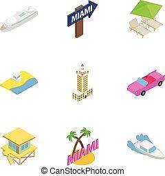 Miami Beach, Florida icons set, isometric 3d style