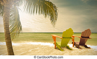 Miami Beach Florida, lounge chairs and palm trees by the...