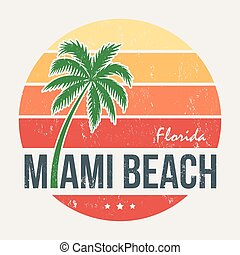 Miami beach Florida tee print with palm tree. T-shirt design, graphics, stamp, label, typography.