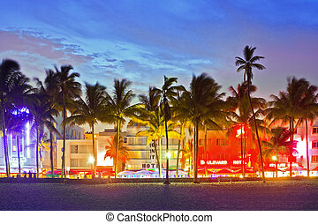 MIAMI BEACH, FLORIDA, USA-JUNE,13: Illuminated hotels and...