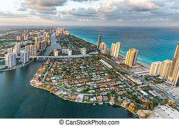 Miami Beach from helicopter.