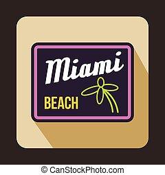 Miami beach icon in flat style