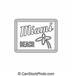 Miami beach icon, outline style