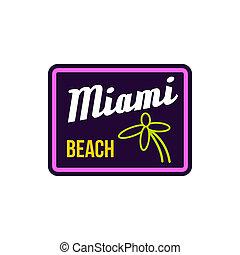 Miami beach label icon in flat style