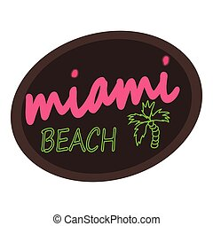 Miami beach logo, cartoon style