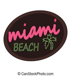 Miami beach logo, cartoon style