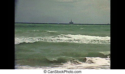 Miami Beach oil platform - An offshore oil platform of the...