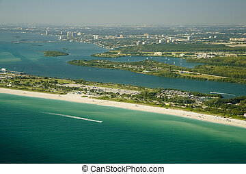 Miami Beach Seashore - Aerial view of the seashore in Miami...