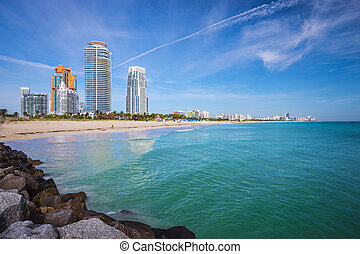 Miami Beach Skyline - Miami, Florida at South Beach.