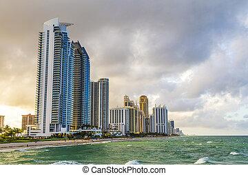 miami beach, soleado, rascacielos, islas