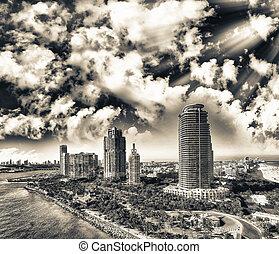 Miami Beach sunset skyline from South Pointe Park, Aerial view - Florida, USA