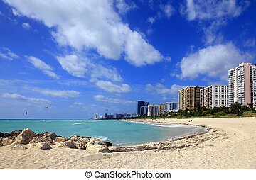 Miami Beach, USA - May 14, 2013: Scene of the crowded beach....