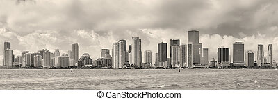 Miami black and white - Miami skyline panorama in black and...